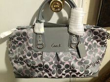 Coach Authentic Women's Signature Sateen & Leather large Satchel bag purse $398+