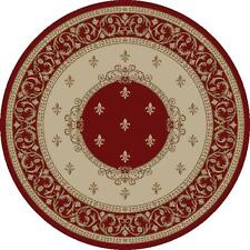 """5' Round (5'3"""") Fleur de Lis Lys Red Area Rug **FREE SHIPPING**"""