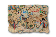 PIRATES Ahoy Wooden PLAQUE Treasure MAP Wall Art hanging Home Decor Boys Bedroom