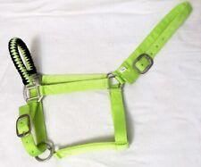 Lime Green/Black Adj. Nylon Halter w/Hand Braided Noseband Full Size Horse New