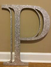"""NEW Pottery Barn Teen SILVER Madison GLITTER Wall Letter """"P"""""""