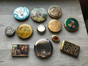 LOT OF 12 VINTAGE COMPACTS POWDER AND MIRROR - BEAUTIFUL ASSORTMENT