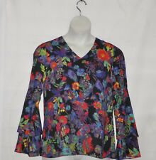 Linea by Louis Dell'Olio Exotic Floral Print Top Size S Black Multi