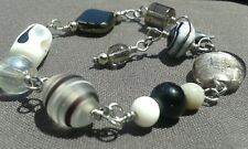 Artisan Silver Steel 316 Wire Bracelet With Murano Glass Beads