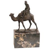 Beduinen Reiter Dromedar Bronzefigur Araber auf Wüstenschiff Kamel Deko Skulptur