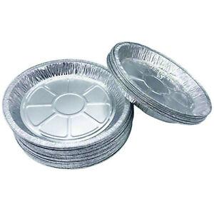 "Large Aluminium 9"" Foil Dishes Steak Pie Round Plate 18mm Deep x 20 Fruit Baking"