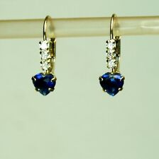14k solid y/gold lab created5mm heart blue Sapphire earrings leverback 1.1 gram