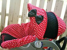 red polka dots w/ black minky infant car seat Cover and hood cover w/ bow