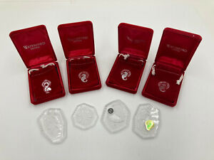 """Lot Of 4 WATERFORD CRYSTAL 12 DAYS OF CHRISTMAS"""" ORNAMENTS swans gold birds EUC"""