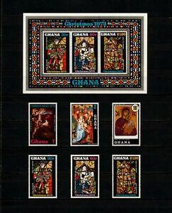 ✔️ (YYBG 231) Ghana 1972 MNH Mi 486 -91 Block 48 Sc 466 - 471a Christmas Art