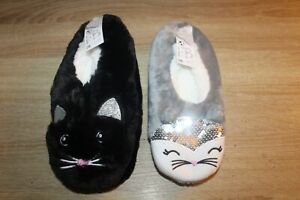 NEW Fuzzy Babba Women's Critter Slippers - Cat - Black or Gray - Size 7-9.5