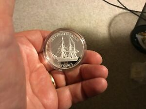 10 francs 2001 .999 Silver Proof Congo USS Constellation Coin In Plastic W/COA!