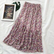 Womens Asymmetric Floral Skirt Dress Fishtail Ruffle Layered Elastic Waist Loose