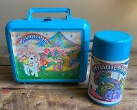 1985 Aladdin My Little Pony Blue Plastic Lunch Box Thermos Hasbro Toys Vintage