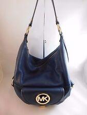Michael Kors Fulton Dark Blue Pebbled Leather Shoulder Hobo Bag