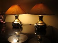 Pair of Mid Century chrome and brass table lamps Triboro sockets Underwriter Lab