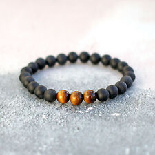 "Men's Tigers Eye Bracelet 7-8"" With Frosted Matte Black Onyx Stone Beads UK Made"