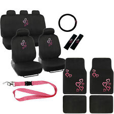 New Love Pink Hearts Car Front Back Seat Covers Floor Mats Lanyard Keychain Set