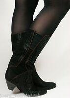 Leder Damenstiefel Lederstiefel Vintage 80s Stiefel Boho Boots Blogger 36,5 - 37