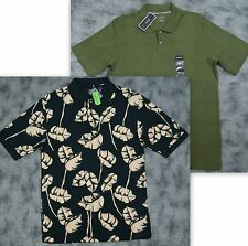 Alfani&Knights Bridge Men 2pc Lot Olive Green&Black Hawaiian Print  Polo Shirt S
