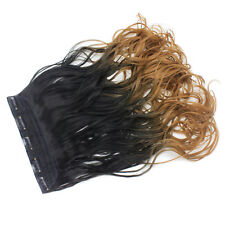 "22"" Clip In ONE PIECE WAVY CURLY Black/Caramel Ombre 1pc 5 Clips 120g"