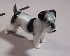 Antique 1928 Terrier Dog Figurine White Black Repaired Large 6 1/2""