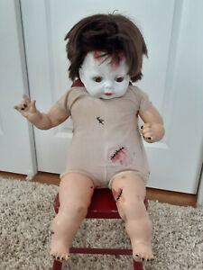 "OOAK vintage halloween doll horror creepy haunted art scary baby doll 22"" tall"