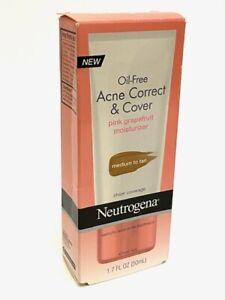 Neutrogena Oil-Free Acne Correct & Cover Pink Grapefruit Med/Tan 1.7 fl oz