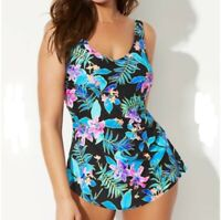Swimsuits For All NWT 20 Luau Sarong Front One Piece Swimsuit Tropical $75