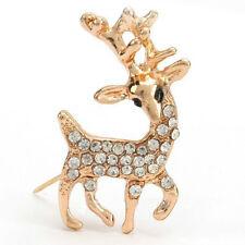 Pin Crystal Antler Secret Santa Gift *Uk* Gold Christmas Reindeer Rudolph Brooch