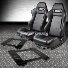 TYPE-R PVC LEATHER+STITCH RACING SEATS+BRACKET FOR 67-69 CHEVY CAMARO/FIREBIRD