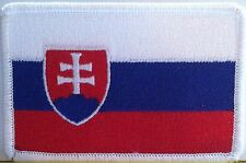 SLOVAKIA Flag Embroidery Iron-On Patch Military Emblem White Border