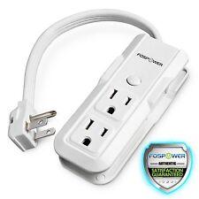 FosPower [E3F] 3 Outlet Mini Power Strip 10inch Cord Wraparound Travel Portable