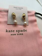 Kate Spade Under The Sea Pave Gold Tone Shell Drop Faux Pearl Earrings S126
