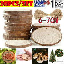 20Pcs 6-7cm Unfinished Predrilled Wood Slices Round Log Discs w/33 Feet US Stock