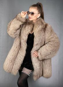 9593 GORGEOUS REAL BLUE FOX FUR COAT LUXURY FUR JACKET BEAUTIFUL LOOK SIZE XL