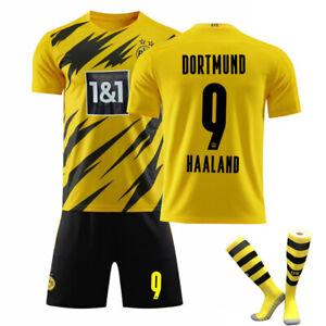 2021 Kinder/Erwachsene Fußball Trikot Kit Socken Jersey HAALAND 9# REUS 11# ~~~~