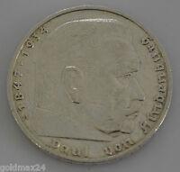 Drittes Reich 5 Reichsmark Silbermünze 1938 A - Hindenburg ohne HK