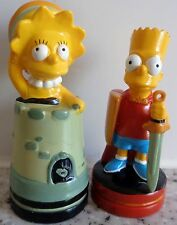 The Simpsons - 2 x Lisa and Bart hard plastic figures - chess / cake topper