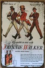 JOHNNIE WALKER Vintage Rustic Retro Tin Metal Sign Man Cave, Shed & Bar-