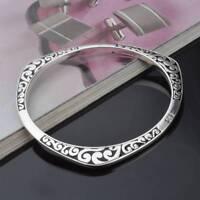 Vintage Tibetan Silver Cuff Bangles Carved Women Bracelets C