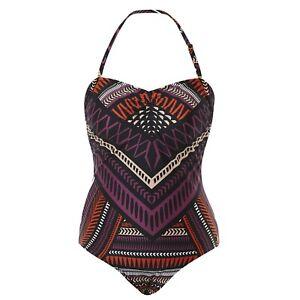 Katherine Tribal Beaded Bandeau Women's One Piece Swimsuit/Swimwear- Brown