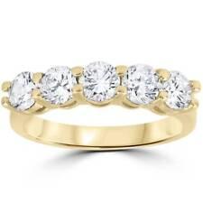 CT 2 Real Diamante Anillo de boda de oro amarillo 14k 5-Piedra para mujer banda de aniversario