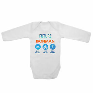 Future Ironman Swimming Cycling Running Baby Vests Bodysuits Grows Long Sleeve
