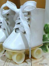 """WHITE Doll ROLLER SKATES Skating DOLL SHOES fits 18"""" AMERICAN GIRL Doll Clothes"""