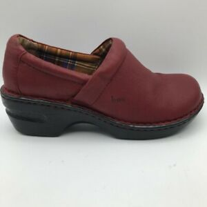 Born Womens Clog Shoes Red Wedge Heels Leather Slip Ons 8 M
