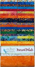 Island Batik Pressed Petals Orange Blue Green Batiks Jelly Roll Strips Pack 40