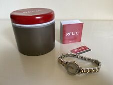 NEW! RELIC JENNA CRYSTALS GLITZ TWO-TONE GOLD SILVER WATCH ZR34323 $70 SALE