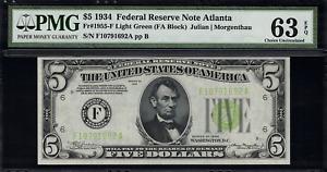 1934 $5 Federal Reserve Note Atlanta - Light Green Seal - FR.1955-F - PMG 63 EPQ