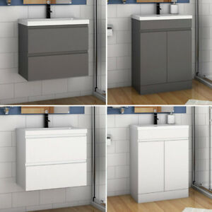 500 Bathrom Vanity Unit with Basin Drawer Door White Grey Wall Hung Freestanding
